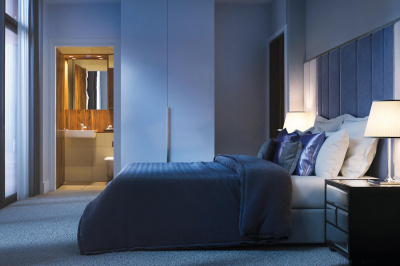 Bedroom at Orchard Wharf, computer generated image intended for illustrative purposes only, ©Galliard Homes.
