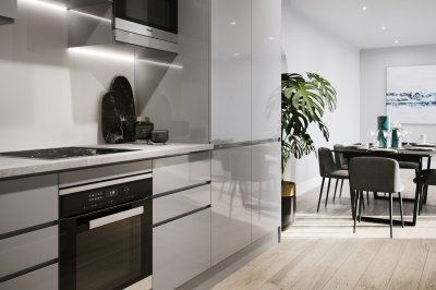 Kitchen at a Galliard Homes show apartment, ©Galliard Homes.