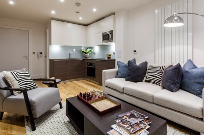 Living area in a Galliard Homes show apartment, ©Galliard Homes.