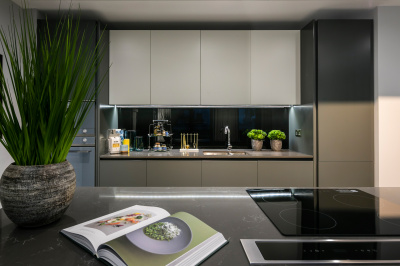 Kitchen area at TCRW Soho; image intended for illustrative purposes only, ©Galliard Homes.