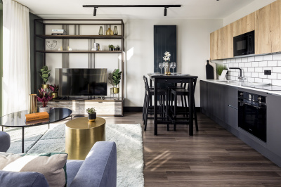 Open-plan living, kitchen and dining area at a Cityloft apartment, ©Galliard Homes.