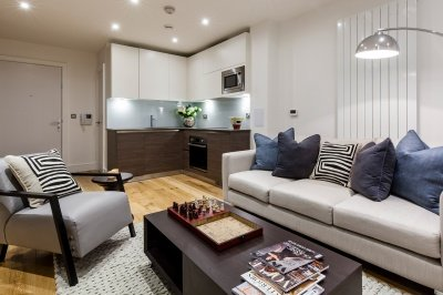 Kitchen And Living Area In A Galliard Homes Studio Apartment, ©Galliard  Homes.