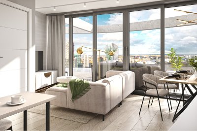 Living area at an Arena Tower duplex apartment, computer generated image for illustrative use only, ©Galliard Homes.