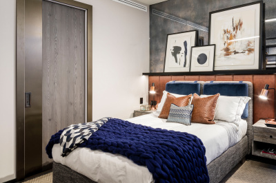 Bedroom at The Stage; image intended for illustrative purposes only, ©Galliard Homes.