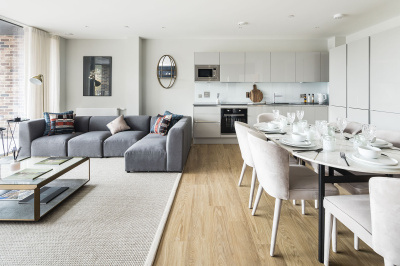 Open-plan kitchen, dining and living area at a Wimbledon Grounds apartment, ©Galliard Homes.