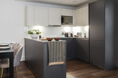 Kitchen at Harbour Central, computer generated image intended for illustrative purposes only, ©Galliard Homes.