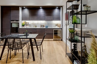 Kitchen and dining area at Islington Square, ©Galliard Homes.