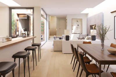 Kitchen, dining and living area at Islington Square, ©Galliard Homes.