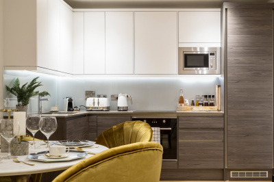 Kitchen in a Galliard Homes show apartment, ©Galliard Homes.