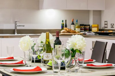 Kitchen and dining area at a Galliard Homes show apartment, ©Galliard Homes.