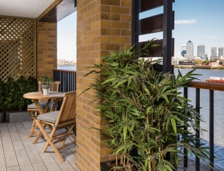 Balcony overlooking the Docklands at Galliard Homes development, Wapping Riverside